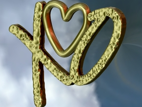 Hug and Kiss Pendant in Polished Gold Steel