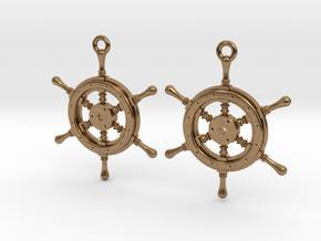 Ship wheel earrings in Natural Brass