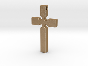 Monroe Cross in Matte Gold Steel