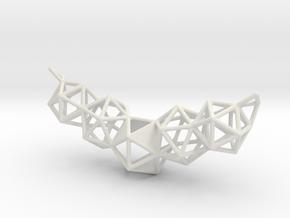 Icosahedron Pendent in White Natural Versatile Plastic