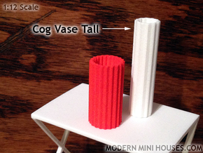 Cog Modern Vase Tall 1:12 scale in White Processed Versatile Plastic