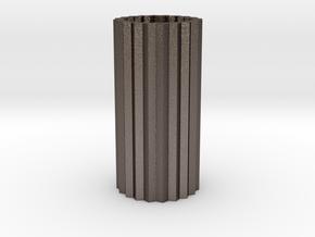 Cog Vase Short 1:12 scale in Polished Bronzed Silver Steel