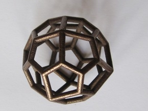 Pentagonal Icositetrahedron Pendant in Polished Bronze Steel