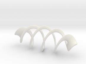 Mesh Torus - 5 crossings in White Natural Versatile Plastic