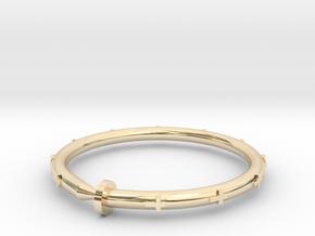 Cross Nail Bracelet in 14k Gold Plated Brass