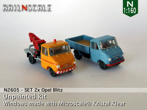 SET 2x Opel Blitz A (N 1:160) in Smooth Fine Detail Plastic