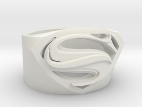 Superman Ring - Man Of Steel Ring US12 in White Natural Versatile Plastic