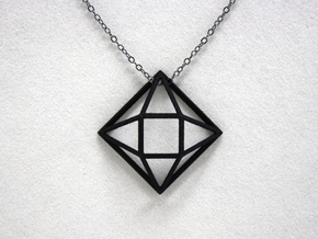 Faceted Square in Black Natural Versatile Plastic