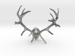 Red Deer Antler Mount 40mm in Natural Silver