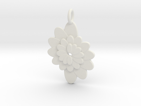 Spiral Flower 1 in White Natural Versatile Plastic