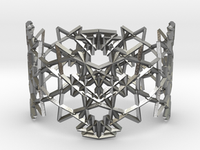 Deco Pattern Cuff in Natural Silver