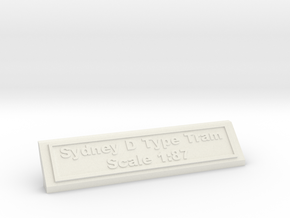 Base Nameplate HO Sydney D in White Natural Versatile Plastic