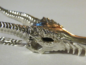 Ancient Dragon Skull Pendant in Polished Silver