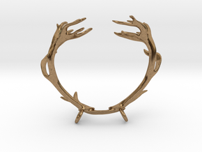 Red Deer Antler Necklace With Loops in Natural Brass
