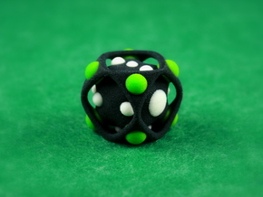 Dice No.2-c Green S (balanced) (2.4cm/0.94in) in Full Color Sandstone