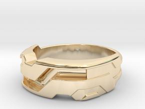 US13.5 Ring XXI: Tritium (Silver) in 14K Yellow Gold