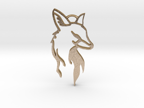 Fox Pendant in Polished Gold Steel