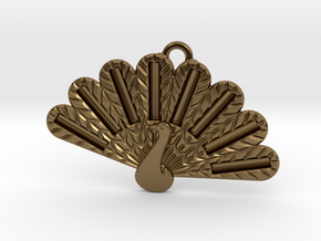 Peacock Fashion Pendant in Polished Bronze
