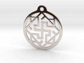 Swasthik / Kolam Pendant in Rhodium Plated Brass