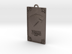Game of Thrones - Stark Pendant in Polished Bronzed Silver Steel