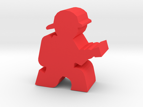 Firefighter Meeple, Kneeling With Hose in Red Processed Versatile Plastic