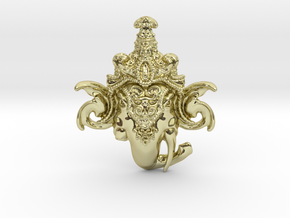 Extremely Detailed Decorative Lord Ganesha Head Pe in 18k Gold Plated Brass