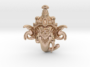 Extremely Detailed Decorative Lord Ganesha Head Pe in 14k Rose Gold Plated Brass
