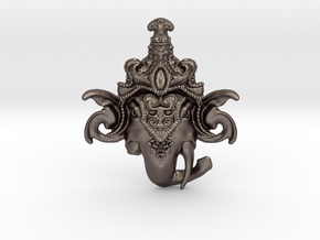 Extremely Detailed Decorative Lord Ganesha Head Pe in Polished Bronzed Silver Steel