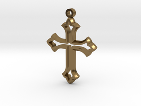 Faceted Cross in Polished Bronze