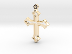 Faceted Cross in 14k Gold Plated Brass