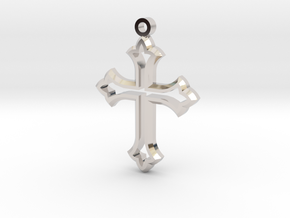 Faceted Cross in Rhodium Plated Brass