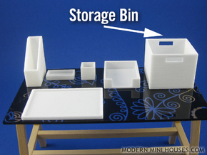 Office: Storage Bin 1:12 scale in White Strong & Flexible Polished