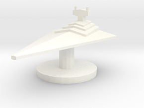 Star Destroyer Token in White Processed Versatile Plastic