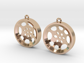 "Double Tenor ""void"" steelpan earrings, M in 14k Rose Gold Plated Brass"