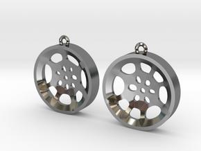 """Double Tenor """"void"""" steelpan earrings, M in Fine Detail Polished Silver"""