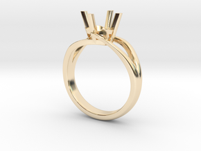 Solitaire Engagement Ring w/Split Band in 14K Yellow Gold