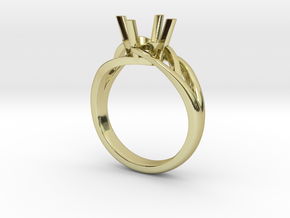 Solitaire Engagement Ring w/Branched Band in 18k Gold Plated Brass