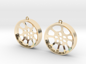 "Double Seconds ""void"" steelpan earrings, L in 14K Yellow Gold"