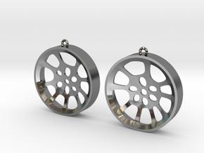 """Double Seconds """"void"""" steelpan earrings, L in Fine Detail Polished Silver"""