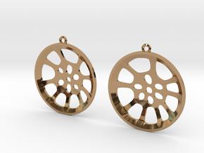 """Double Seconds """"essence"""" steelpan earrings, L in Polished Brass"""
