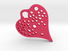 Heart Full Of Holes - Pendant in Pink Processed Versatile Plastic