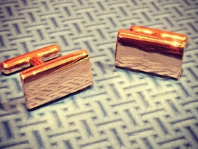 Schwarz cushion cufflinks in 14k Rose Gold Plated Brass