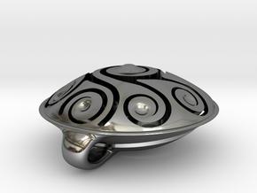 Handpan Instrument Pendant v5 in Fine Detail Polished Silver