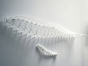 """wall decoration """"Whales"""" in White Natural Versatile Plastic"""