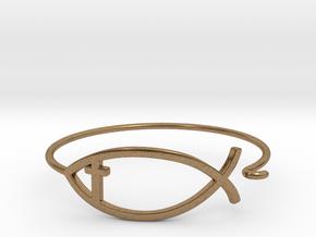 Wire Jesus Fish Bracelet (w/ Cross) in Natural Brass