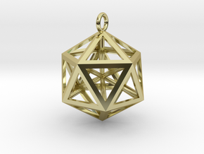Icosahedron pendant in 18k Gold Plated Brass