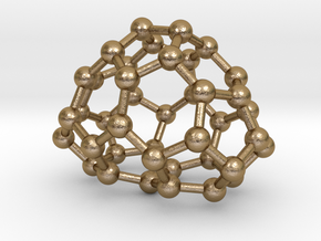 0114 Fullerene C40-8 c2v in Polished Gold Steel