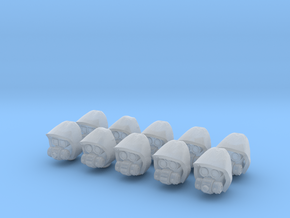 28mm Techno cult cyborg heads in Frosted Ultra Detail