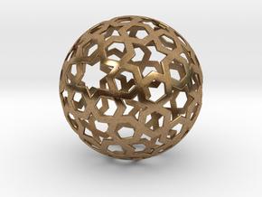 0027 Star Ball (Isotoxal Star Hexagons) 5cm #001 in Natural Brass