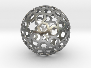 0027 Star Ball (Isotoxal Star Hexagons) 5cm #001 in Natural Silver